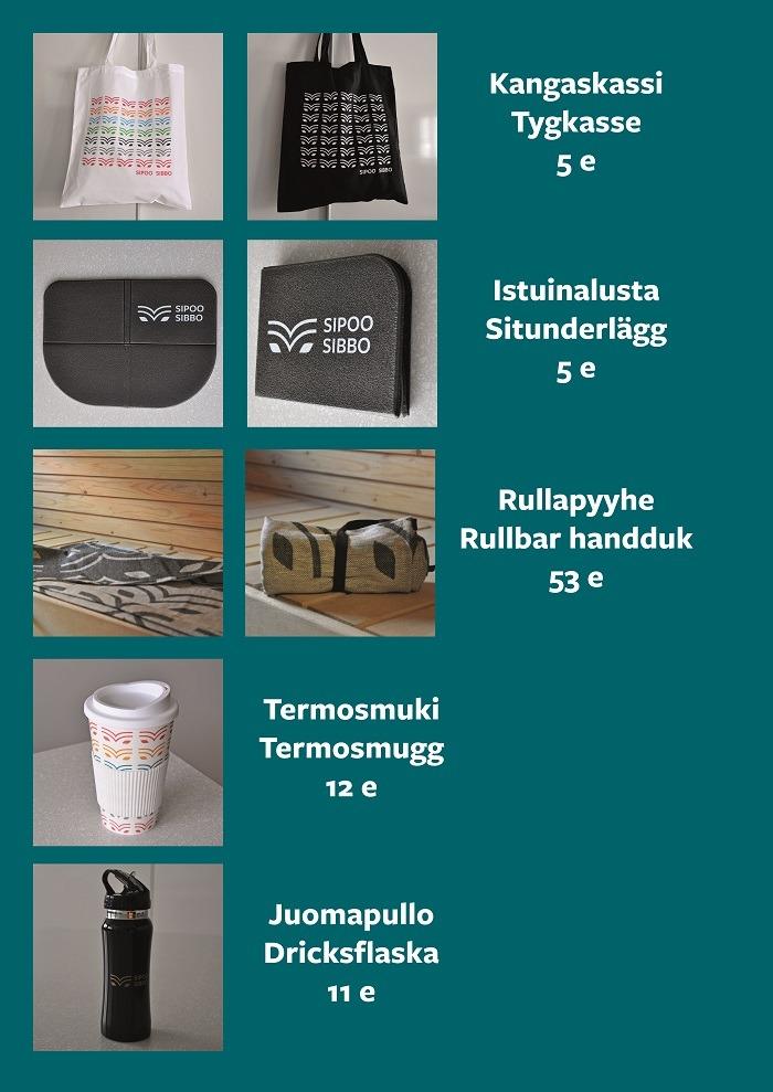 Kuvat Sipoo-tuotteista ja niiden hinnat.