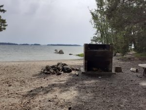 Barbecue site by a sandy beach at Norrkullalandet island.