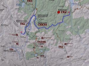 Karta över halvdags utfärd igenom Sibbo storskogs nationalpark från Bakunkärr parkeringsplats via Kalkbruket till Kalkugnsvägens busshållplats.