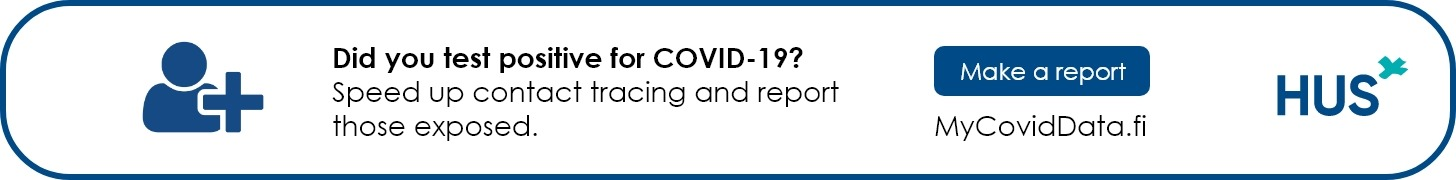 Did you test positive for COVID-19? Speed up contact tracing and report those exposed. Make a report: MyCovidData.fi.